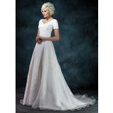 A-Line/Princess V-neck Court Train Satin Organza Wedding Dress With Beading Appliques Lace