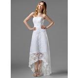 Corte A/Princesa Estrapless Asimétrico Encaje Vestido de novia con Bordado