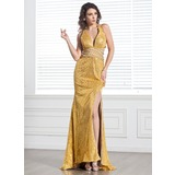 Sheath V-neck Sweep Train Chiffon Sequined Prom Dress With Beading (018005093)
