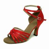 De mujer Satén Tacones Sandalias Danza latina Sala de Baile con Tira de tobillo Zapatos de danza