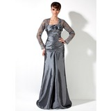 A-Line/Princess One-Shoulder Sweep Train Taffeta Mother of the Bride Dress With Ruffle Lace Beading