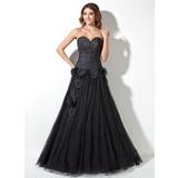 A-Linie/Princess-Linie Herzausschnitt Bodenlang Taft Tüll Quinceañera Kleid (Kleid für die Geburtstagsfeier) mit Rüschen Perlen verziert Blumen