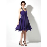 Empire Scoop Neck Knee-Length Chiffon Satin Homecoming Dress With Ruffle Beading (022010502)