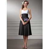 Empire Sweetheart Tea-Length Taffeta Bridesmaid Dress With Ruffle (007001830)