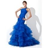 Trumpet/Mermaid One-Shoulder Sweep Train Organza Prom Dress With Beading Cascading Ruffles (018005077)