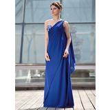 A-Linie/Princess-Linie Eine Schulter Bodenlang Chiffon Kleid für die Brautmutter mit Perlen verziert