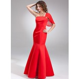 Trumpet/Mermaid One-Shoulder Floor-Length Satin Bridesmaid Dress