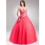 Duchesse-Linie Herzausschnitt Bodenlang Tüll Quinceañera Kleid (Kleid für die Geburtstagsfeier) mit Perlen verziert