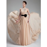 A-Line/Princess Halter Floor-Length Chiffon Prom Dress With Ruffle Beading Flower(s)