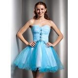 Forme Princesse Bustier en coeur Courte/Mini Tulle Robe de soirée étudiante avec Plissé Emperler