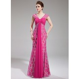 Sheath V-neck Watteau Train Chiffon Lace Prom Dress With Ruffle Beading (018019769)