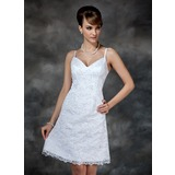Sheath/Column V-neck Knee-Length Satin Wedding Dress With Lace Beadwork (002000222)