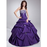 Ball-Gown Strapless Floor-Length Taffeta Quinceanera Dress With Ruffle Lace Beading Sequins