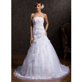 Ball-Gown Strapless Chapel Train Organza Wedding Dress With Ruffle Lace Sequins
