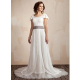 A-Line/Princess Scoop Neck Court Train Chiffon Wedding Dress With Ruffle Sash Beading Bow(s)