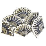 Floral Design Plastic/Silk Hand fan (Set of 4)