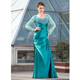Sheath/Column Off-the-Shoulder Sweep Train Charmeuse Mother of the Bride Dress With Ruffle Beading Sequins