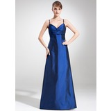 Empire V-neck Sweep Train Taffeta Bridesmaid Dress With Ruffle (007004263)