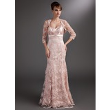 Mermaid Sweetheart Floor-Length Charmeuse Lace Mother of the Bride Dress With Ruffle Beading Sequins (008006523)
