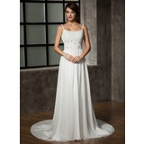 A-Line/Princess Scoop Neck Chapel Train Chiffon Wedding Dress With Ruffle Beadwork Sequins (002011441)