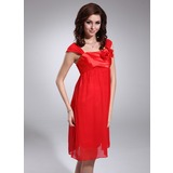 Empire Square Neckline Knee-Length Chiffon Charmeuse Bridesmaid Dress With Flower(s) (022011116)