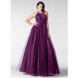 A-Line/Princess Halter Floor-Length Tulle Quinceanera Dress With Ruffle Beading (021020811)