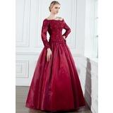 A-Linie/Princess-Linie Schulterfrei Bodenlang Organza Kleid für die Brautmutter mit Spitze Perlen verziert