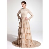 A-Line/Princess High Neck Court Train Chiffon Lace Evening Dress With Ruffle (017020660)