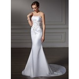Trumpet/Mermaid Strapless Chapel Train Satin Wedding Dress With Embroidered Ruffle Beading