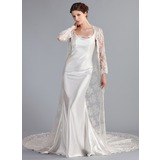Trumpet/Mermaid Cowl Neck Cathedral Train Charmeuse Lace Wedding Dress