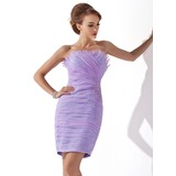 Sheath/Column Scalloped Neck Short/Mini Organza Cocktail Dress With Ruffle Beading Appliques Lace Sequins