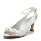 Satin Kitten Heel Peep Toe Slingbacks Pumps Wedding Shoes With Bowknot Buckle (047011046)