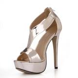 Lackleder Stöckel Absatz Sandalen Plateauschuh Peep Toe mit Reißverschluss Schuhe