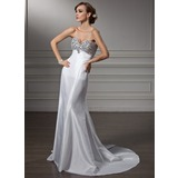 Empire Sweetheart Court Train Taffeta Prom Dress With Beading (018005357)