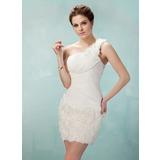 Sheath/Column One-Shoulder Short/Mini Chiffon Lace Homecoming Dress With Ruffle Flower(s)