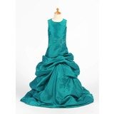 Forme Princesse Longueur ras du sol Robes à Fleurs pour Filles - Taffeta Sans manches Col rond avec Plissé/Brodé/Ramassage Jupe