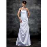 Sheath Sweetheart Floor-Length Charmeuse Evening Dress With Ruffle (017022547)