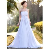 Empire Strapless Court Train Chiffon Wedding Dress With Ruffle Beadwork (002001417)