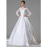 Ball-Gown V-neck Cathedral Train Satin Wedding Dress With Ruffle Lace (002004745)