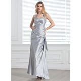 Sheath Halter Floor-Length Taffeta Prom Dress With Ruffle Beading (018005320)