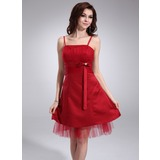 Empire Knee-Length Satin Tulle Homecoming Dress With Ruffle Beading (022010694)