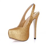 Sparkling Glitter Stiletto Heel Closed Toe Plateau Slingbacks Pumps Bruidsschoenen (085015216)