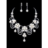 Jewelry Sets Wedding Engagement Party Alloy Silver Jewelry With Pearl (011017846)