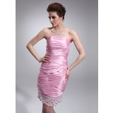 Sheath Strapless Knee-Length Taffeta Tulle Cocktail Dress With Ruffle Beading (016021217)