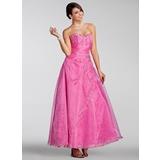 A-Linie/Princess-Linie Herzausschnitt Knöchellang Organza Quinceañera Kleid (Kleid für die Geburtstagsfeier) mit Bestickt Perlen verziert Pailletten
