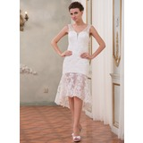 Sheath/Column V-neck Asymmetrical Organza Lace Wedding Dress With Beading Sequins