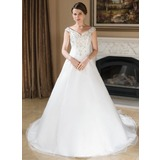 A-Line/Princess Off-the-Shoulder Chapel Train Organza Satin Wedding Dress With Embroidery Beadwork Sequins (002000389)