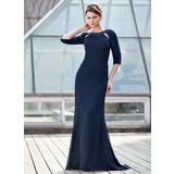 Trompete/Meerjungfrau-Linie U-Ausschnitt Sweep/Pinsel zug Chiffon Kleid für die Brautmutter mit Rüschen Perlen verziert