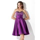 Empire Sweetheart Short/Mini Charmeuse Homecoming Dress With Ruffle Beading