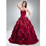 Duchesse-Linie Herzausschnitt Kapelle-schleppe Satin Quinceañera Kleid (Kleid für die Geburtstagsfeier) mit Perlen verziert